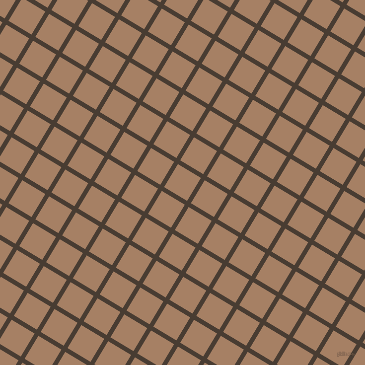 59/149 degree angle diagonal checkered chequered lines, 9 pixel lines width, 54 pixel square size, Taupe and Medium Wood plaid checkered seamless tileable