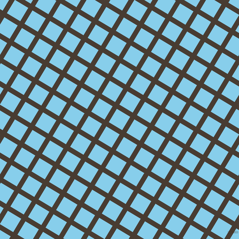 59/149 degree angle diagonal checkered chequered lines, 17 pixel line width, 54 pixel square size, Taupe and Sky Blue plaid checkered seamless tileable