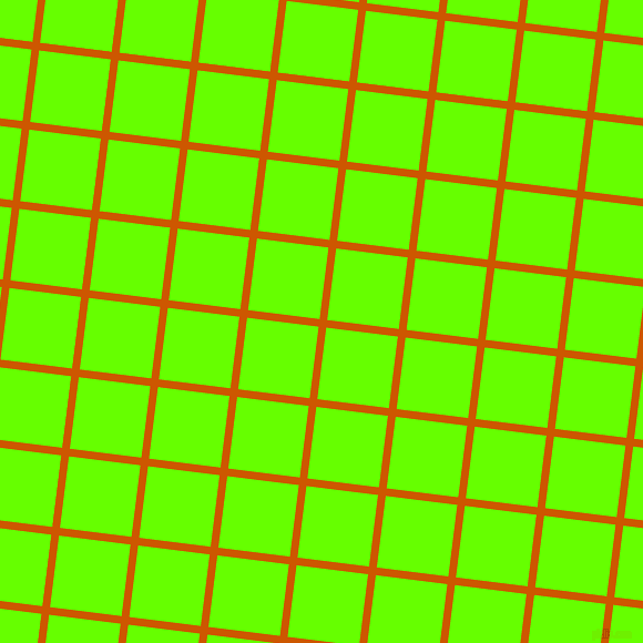 83/173 degree angle diagonal checkered chequered lines, 7 pixel lines width, 65 pixel square size, Tenne Tawny and Bright Green plaid checkered seamless tileable