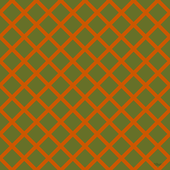 45/135 degree angle diagonal checkered chequered lines, 13 pixel line width, 46 pixel square size, Tenne Tawny and Rain Forest plaid checkered seamless tileable