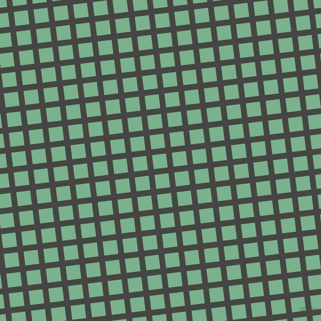 7/97 degree angle diagonal checkered chequered lines, 12 pixel lines width, 29 pixel square size, Tuatara and Bay Leaf plaid checkered seamless tileable