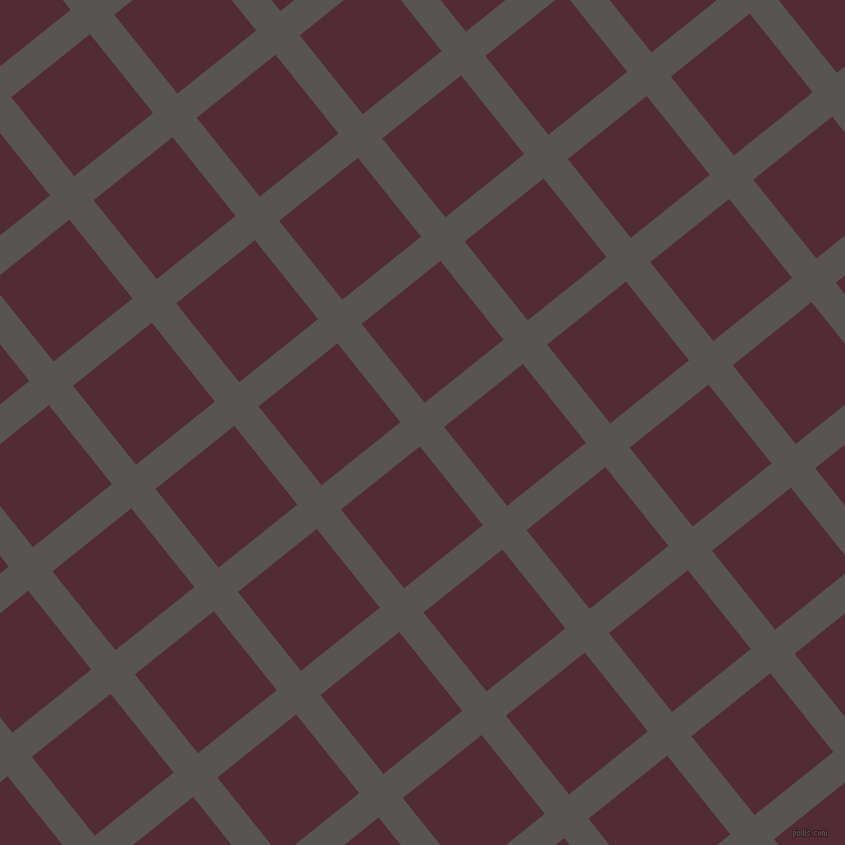 39/129 degree angle diagonal checkered chequered lines, 31 pixel lines width, 101 pixel square size, Tundora and Wine Berry plaid checkered seamless tileable