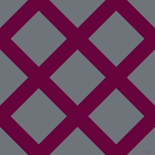 45/135 degree angle diagonal checkered chequered lines, 51 pixel lines width, 136 pixel square size, Tyrian Purple and Raven plaid checkered seamless tileable