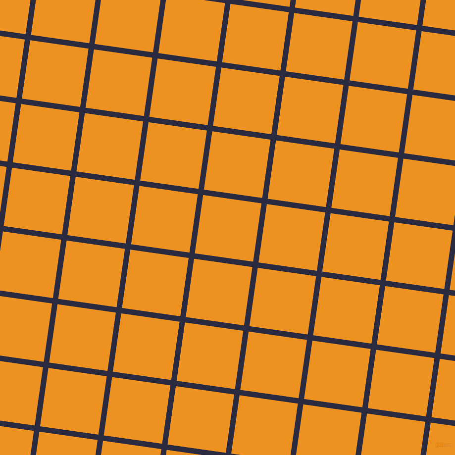 82/172 degree angle diagonal checkered chequered lines, 11 pixel line width, 119 pixel square size, Valhalla and Carrot Orange plaid checkered seamless tileable