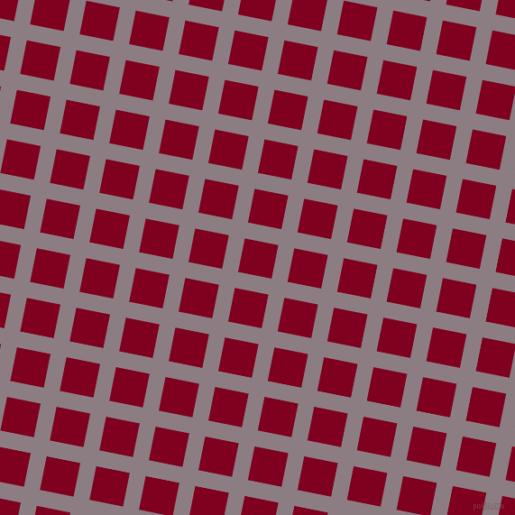 79/169 degree angle diagonal checkered chequered lines, 18 pixel lines width, 38 pixel square size, Venus and Burgundy plaid checkered seamless tileable