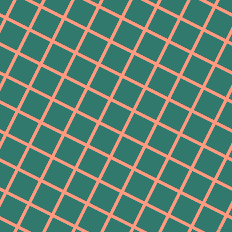 63/153 degree angle diagonal checkered chequered lines, 11 pixel line width, 77 pixel square size, Vivid Tangerine and Genoa plaid checkered seamless tileable
