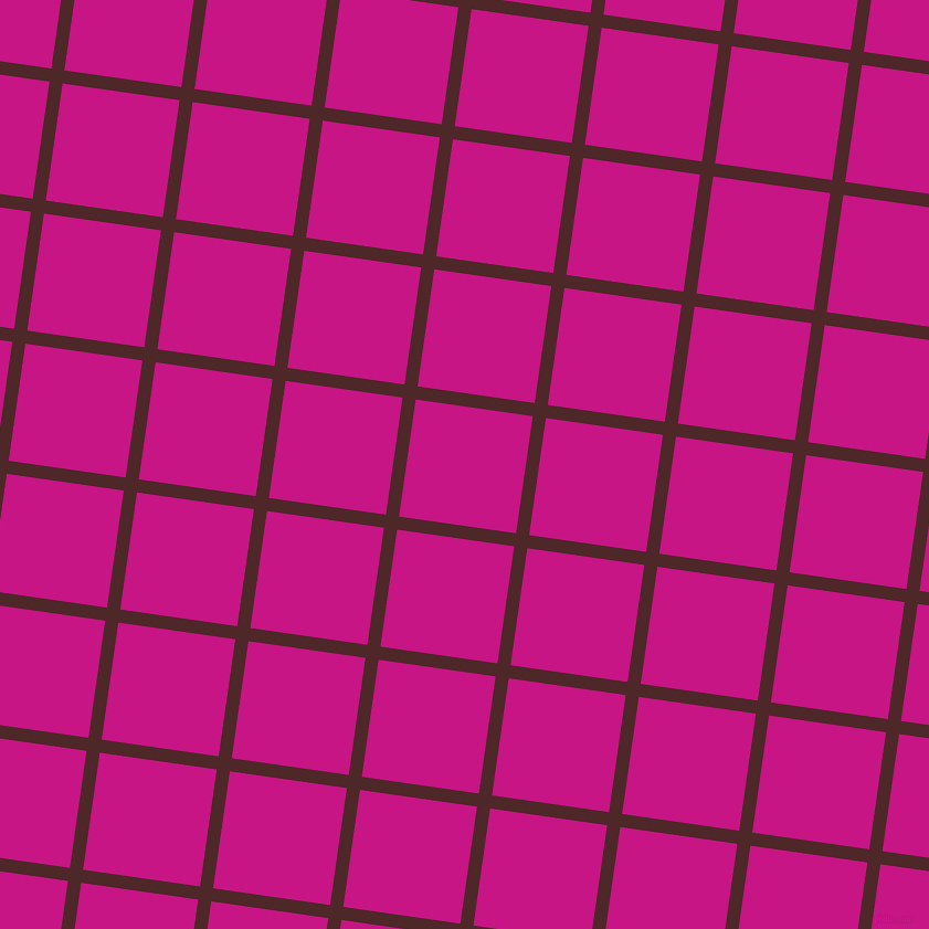 82/172 degree angle diagonal checkered chequered lines, 12 pixel lines width, 107 pixel square size, Volcano and Medium Violet Red plaid checkered seamless tileable