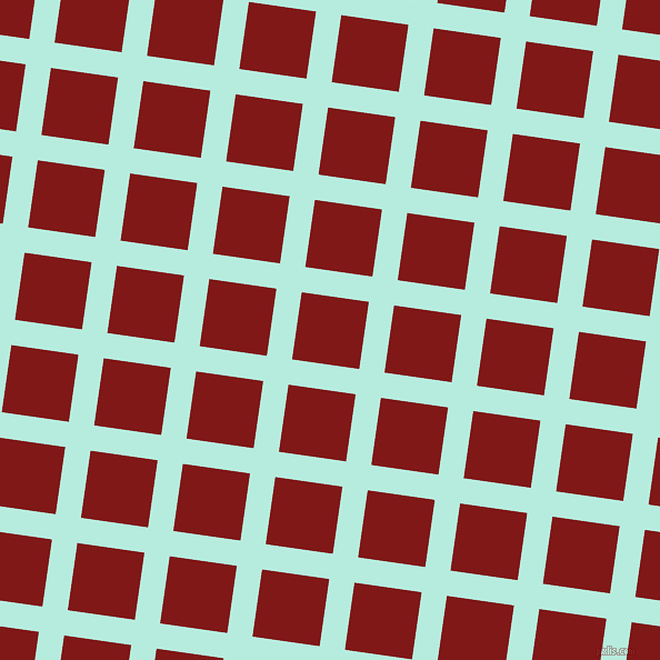 82/172 degree angle diagonal checkered chequered lines, 23 pixel line width, 61 pixel square size, Water Leaf and Falu Red plaid checkered seamless tileable