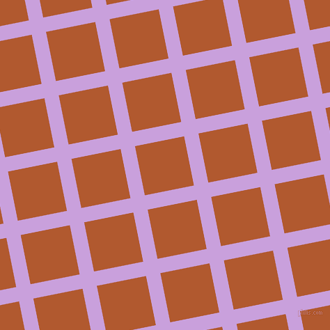 11/101 degree angle diagonal checkered chequered lines, 21 pixel lines width, 72 pixel square size, Wisteria and Fiery Orange plaid checkered seamless tileable