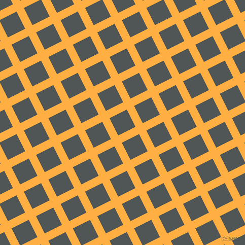 27/117 degree angle diagonal checkered chequered lines, 16 pixel line width, 38 pixel square size, Yellow Orange and Mako plaid checkered seamless tileable