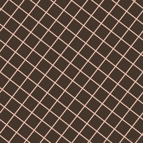 52/142 degree angle diagonal checkered chequered lines, 4 pixel lines width, 44 pixel square size, Zinnwaldite and Dark Rum plaid checkered seamless tileable