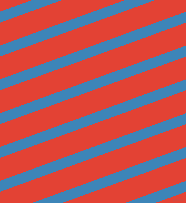 20 degree angle lines stripes, 36 pixel line width, 75 pixel line spacing, Curious Blue and Cinnabar stripes and lines seamless tileable