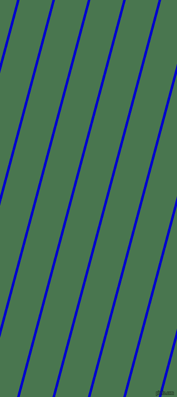 75 degree angle lines stripes, 5 pixel line width, 63 pixel line spacing, Medium Blue and Killarney stripes and lines seamless tileable