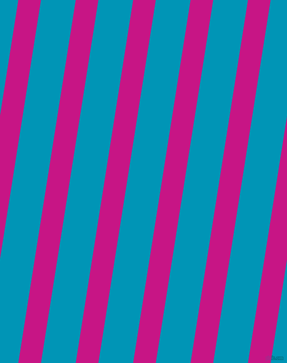 81 degree angle lines stripes, 45 pixel line width, 69 pixel line spacing, Medium Violet Red and Bondi Blue stripes and lines seamless tileable